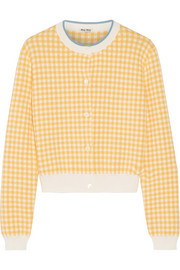 Miu Miu Cropped houndstooth cotton cardigan