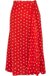 Printed silk crepe de chine midi skirt