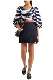 Pleated wool-blend mini skirt