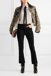 Ruffled printed silk-chiffon blouse