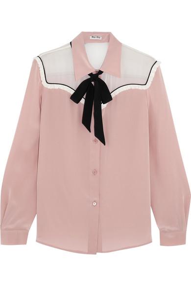 Miu Miu - Pussy-bow Chiffon-paneled Silk Crepe De Chine Blouse - Blush