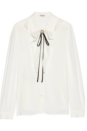 Embellished ruffled silk-trimmed crepe blouse