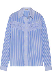 Ruffle-trimmed striped cotton-poplin shirt