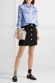Miu Miu Ruffle-trimmed striped cotton-poplin shirt