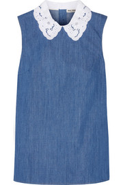 Miu Miu Broderie anglaise-trimmed cotton-chambray top