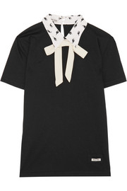 Miu Miu Printed silk-trimmed cotton-jersey top