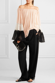 Chloé Off-the-shoulder silk-crepon blouse