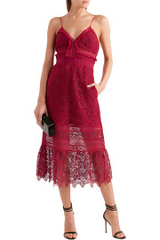 Ruffled georgette-trimmed guipure lace dress
