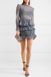 Ruffled organza-trimmed guipure lace mini dress