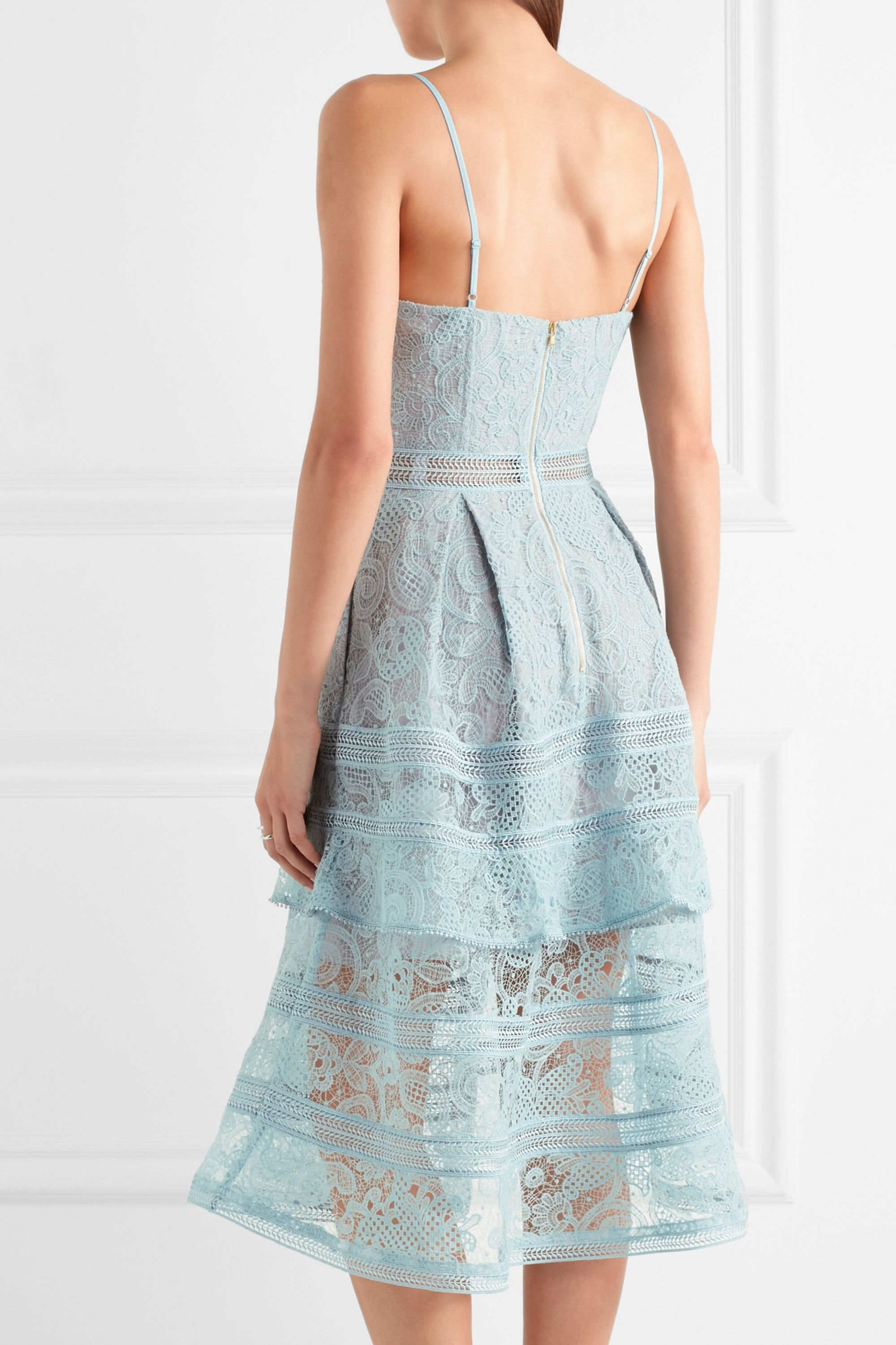 Self-Portrait Tiered paneled guipure lace dress