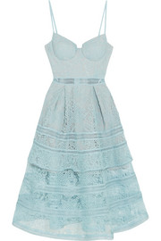 Tiered paneled guipure lace dress