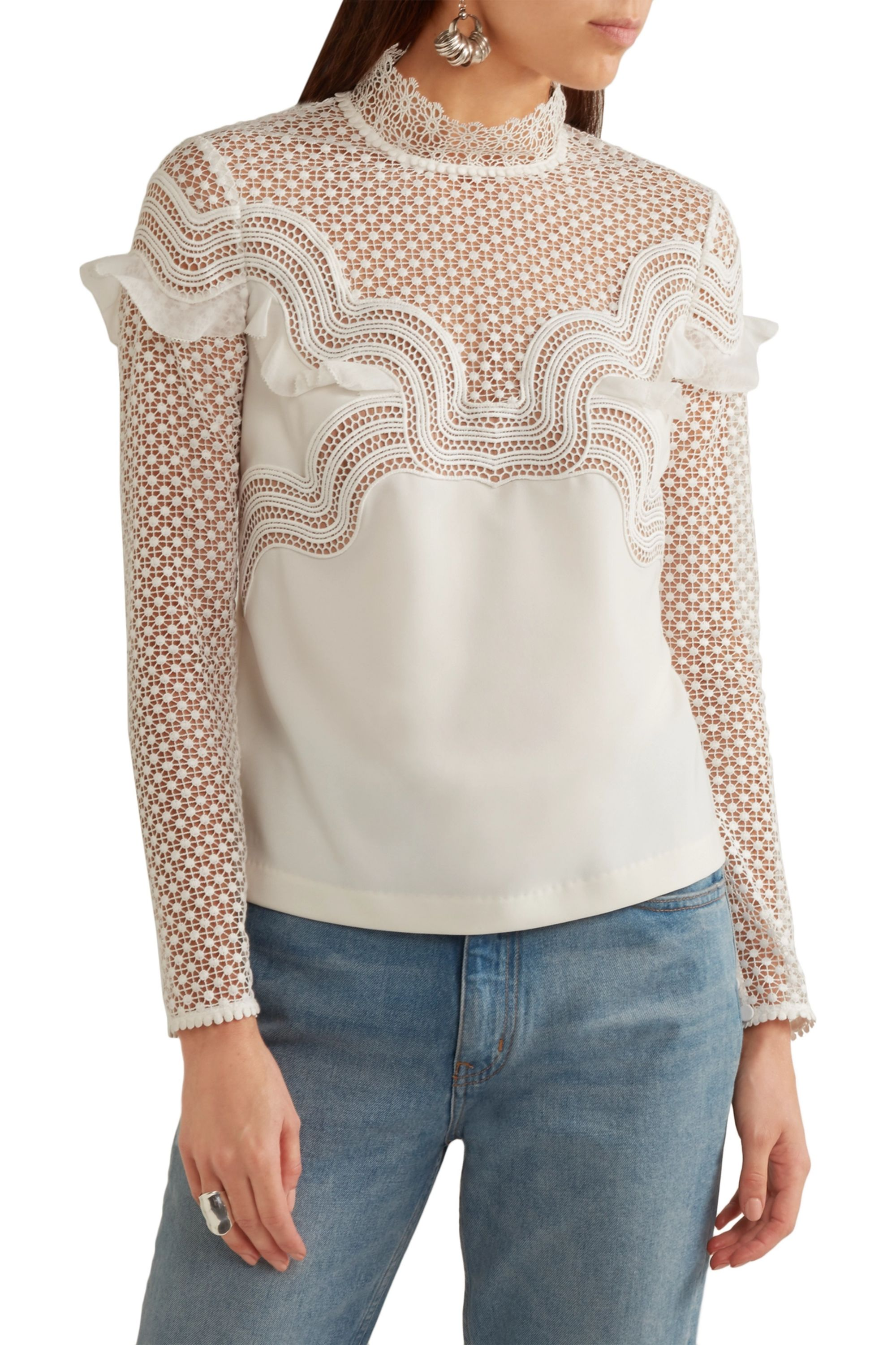 Self-Portrait Ruffle-trimmed guipure lace and crepe top