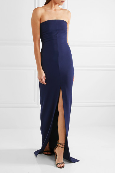 Solace London Woman Strapless Belted Crepe Gown Blue Size 4 Solace London 9uNgWPQO3