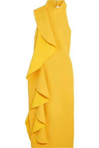 Solace London - Amelle Open-back Ruffled Crepe Midi Dress - Yellow