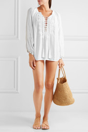 Melissa Odabash Alessandra lace-up embroidered voile top