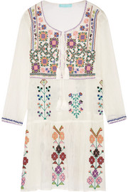 Millie embroidered crinkled cotton-gauze mini dress
