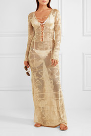 Melissa Odabash Giselle metallic crochet-knit maxi dress