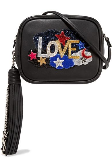 saint laurent female saint laurent monogramme blogger appliqued leather shoulder bag black