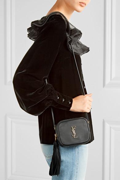 09bc00217d9 SAINT LAURENT. Monogramme Blogger leather shoulder bag. £645.00. Play