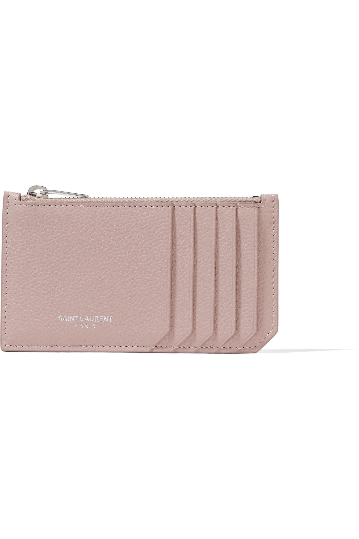 SAINT LAURENT Textured-leather cardholder