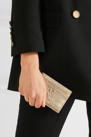 Metallic textured-leather cardholder
