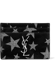 Saint Laurent Glittered suede cardholder