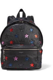 City glittered leather and twill backpack
