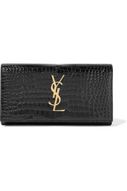 Saint Laurent Croc-effect patent-leather continental wallet