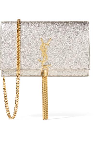 Saint Laurent - Monogramme Kate Small Metallic Textured-leather Shoulder Bag - Silver