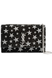 Saint Laurent Monogramme Kate glittered suede shoulder bag