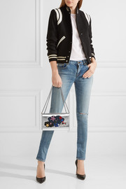 Saint Laurent Monogramme Kate medium appliquéd metallic textured-leather shoulder bag
