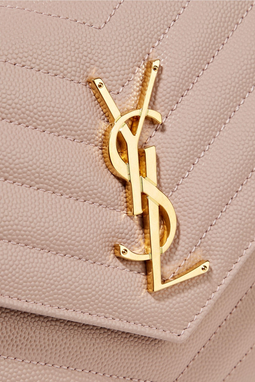 SAINT LAURENT Sac porté épaule en cuir texturé matelassé Monogramme Small