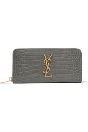 Croc-effect leather continental wallet