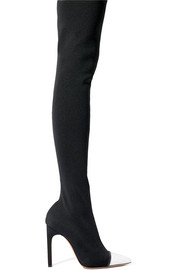 Leather-trimmed stretch-knit over-the-knee boots