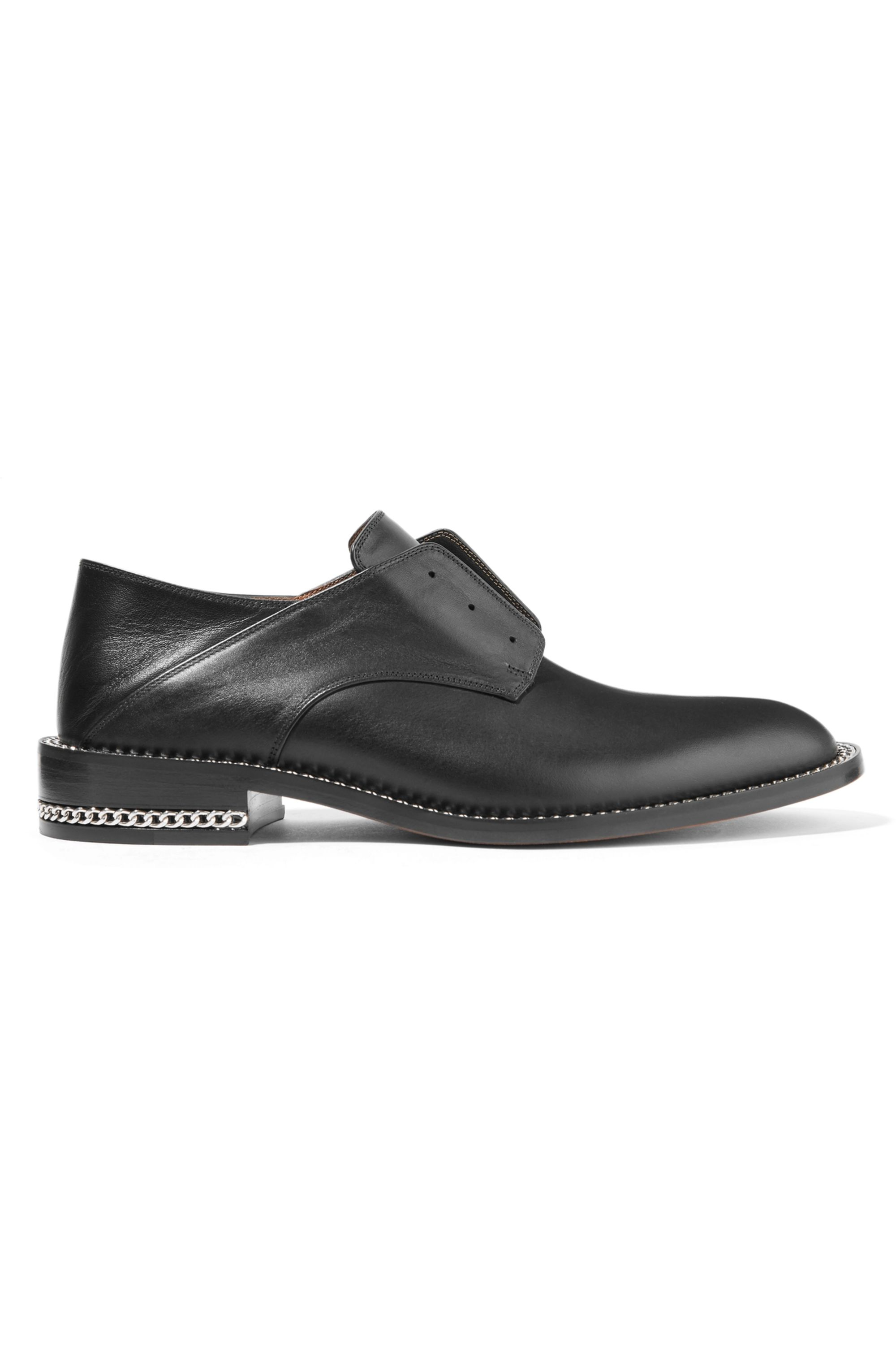 Givenchy Chain-trimmed leather collapsible-heel brogues
