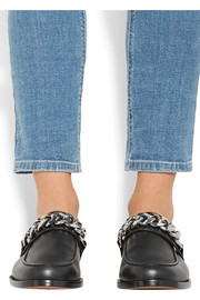 Chain-trimmed leather slippers