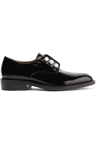 Givenchy - Faux Pearl-embellished Patent-leather Brogues - Black