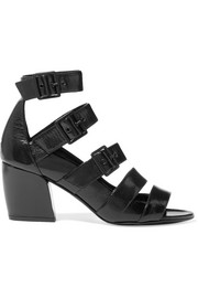Pierre Hardy Parallele buckled glossed textured-leather sandals
