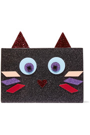 Karl Lagerfeld Choupette glittered acrylic clutch