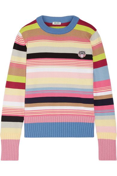KENZO - Appliquéd Striped Cotton-blend Sweater - Pink