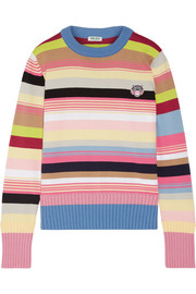 KENZO Appliquéd striped cotton-blend sweater
