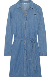 KENZO Embroidered washed-denim shirt dress