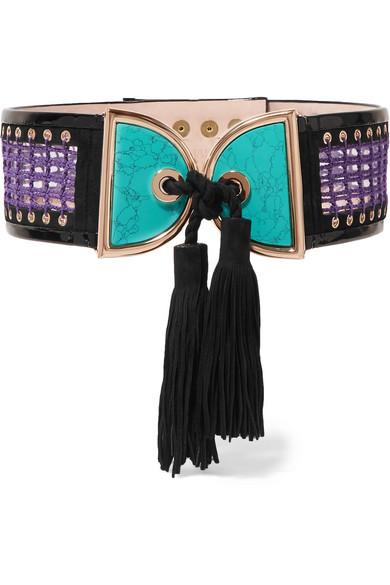 Balmain - Embellished Crochet And Suede Waist Belt - Turquoise