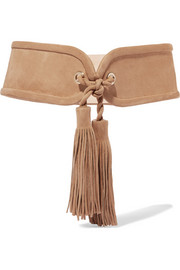 Tasseled suede waist belt