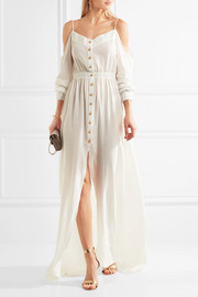 Balmain Cutout cotton-crepon maxi dress