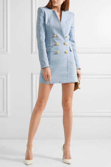 Balmain double breasted denim mini dress net a porter com for Net a porter