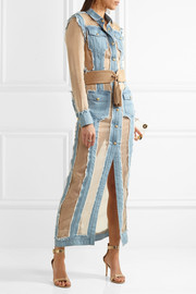 Balmain Frayed denim and organza maxi dress