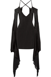 Balmain Open-back ruffled stretch-knit mini dress