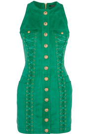 Balmain Lace-up suede mini dress