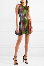 Balmain Beaded mesh mini dress